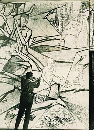 Johan Thorn Prikker in 1923 aan het werk met zijn muurschilderingen.