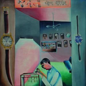 Janata Watch Repairing, 1972, Bhupen Khakhar © Estate of Bhupen Khakhar. Te zien t/m 5 maart in de Kunsthalle Deutsche Bank in Berlijn.